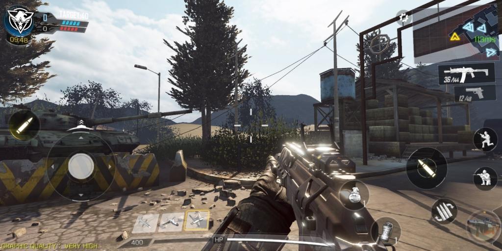 Aplicativo CoD Mobile, início da partida no mapa Standoff (Black Ops 2).