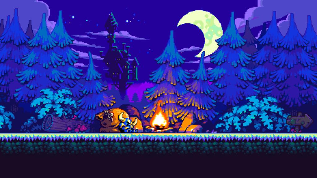 Tela de Shovel Kinght mostrando o personagem principal descansando perto de uma fogueira na floresta