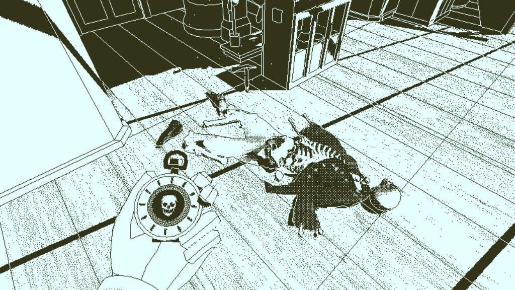 Imagem em que a mão do personagem protagonista do jogo Return of the Obra Dinn segura objeto parecido com um relógio próximo a um corpo em decomposição dentro do navio