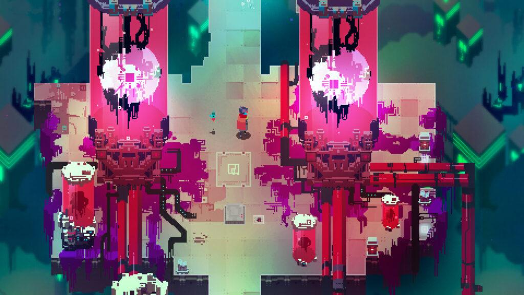 Tela de Hyper Light Drifter com personagem caminhando entre máquinas