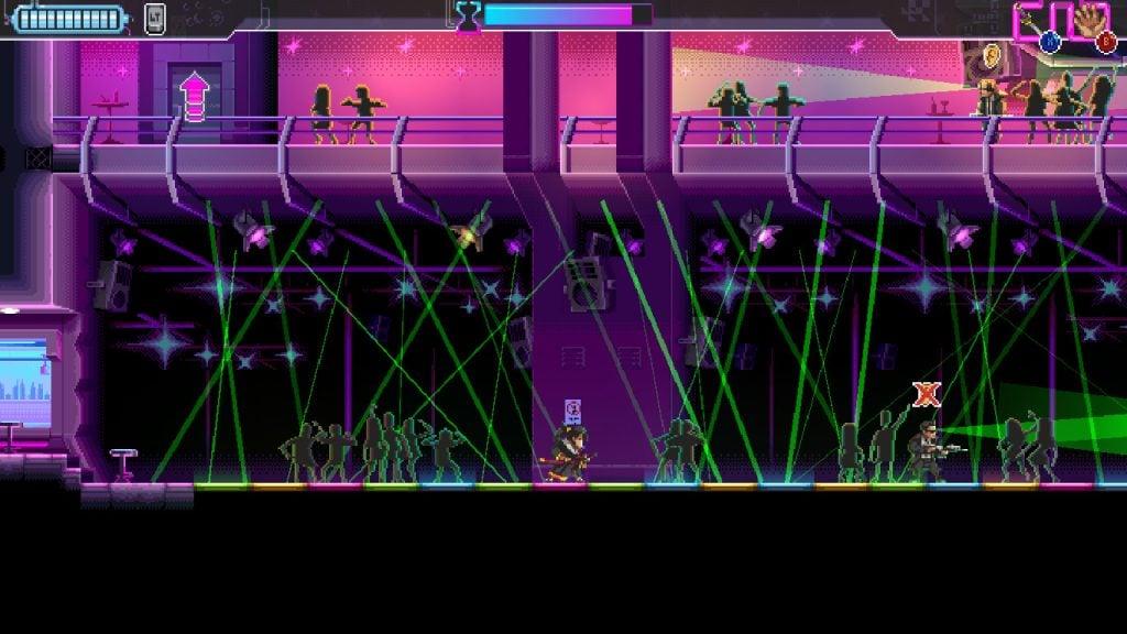 Imagem do game indie Katana Zero de momento em que o protagonista desacelera o tempo