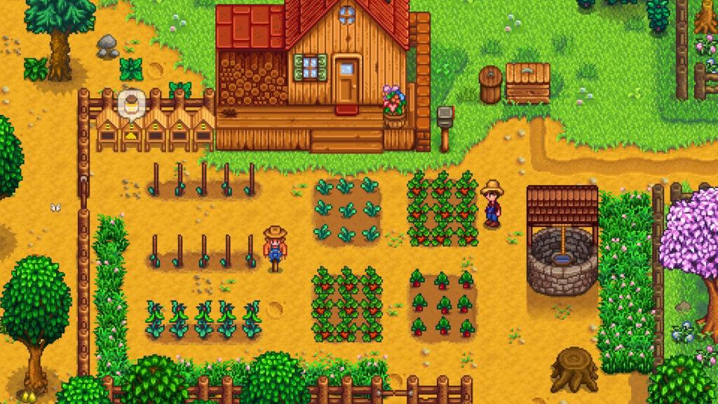 Imagem de Stardew Valley com dois personagens em uma fazendo, no meio de plantações