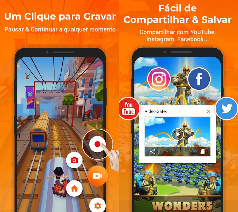 Exemplo de captura de tela durante game e de compartilhamento da imagem por meio das redes sociais.