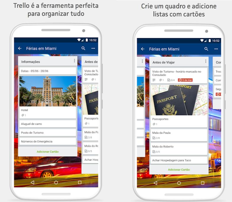 Duas telas do Trello mostrando diferentes quadradinhos com textos dentro dessse App pra Android
