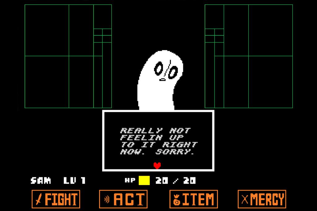 Tela de Undertale com um fantasma sobre um fundo praticamente vazio se recusando a seguir suas ordens