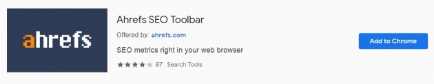 Trecho da área do ahrefs seo toolbar na chrome web store