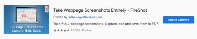 Faça capturas de tela com fireshot