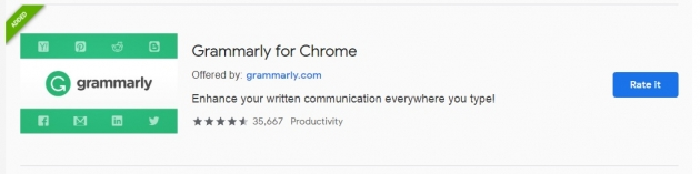 Trecho da área do Grammarly na Chrome Web Store