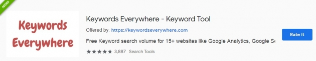 Trecho da área do keywordeverywhere na chrome web store