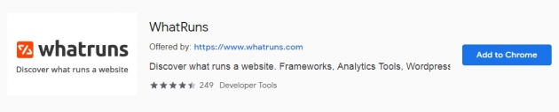 Trecho da área do whatruns na chrome web store
