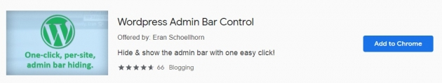 Trecho da área do WordPress Admin Bar Control na Chrome Web Store