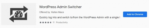 Trecho da área do wordpress admin switcher na chrome web store