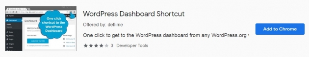Trecho da área do WordPress Dashboard Shortcut na Chrome Web Store