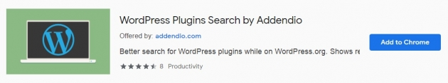 Trecho da área do wordpress plugins search na chrome web store