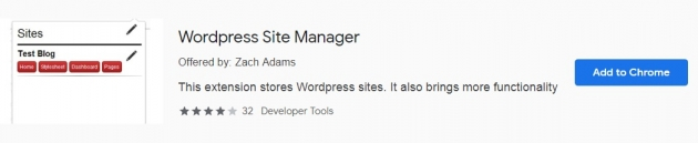 Trecho da área do wordpress site manager na chrome web store