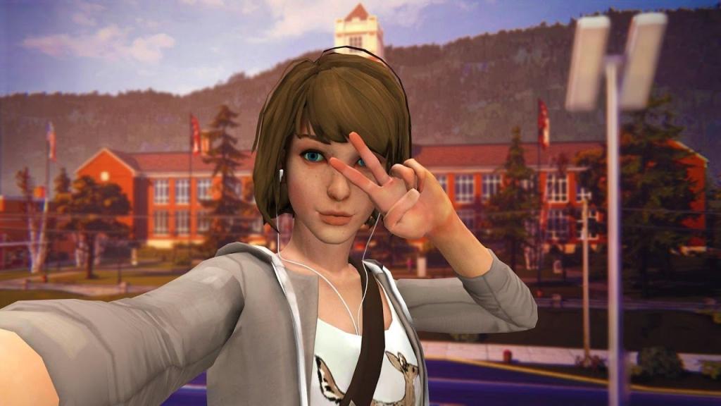Personagem Max tirando uma selfie em frente a sua escola