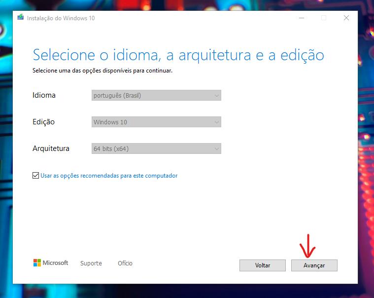 Janela com seleção das configurações do Windows 10