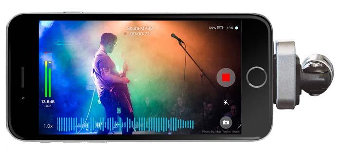 Aplicativo de edição de vídeo da shure