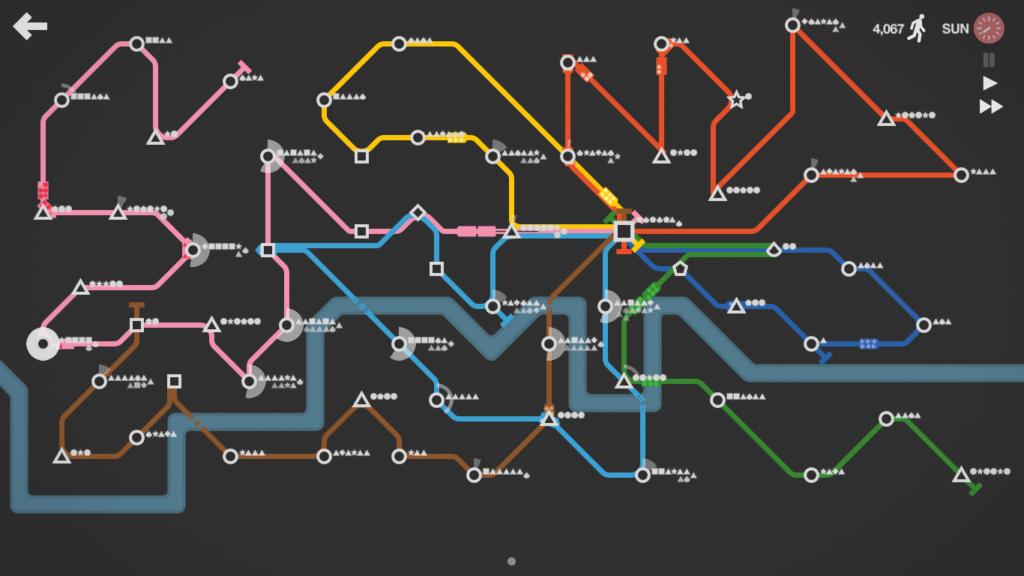 Mapa metroviário de Mini Metro