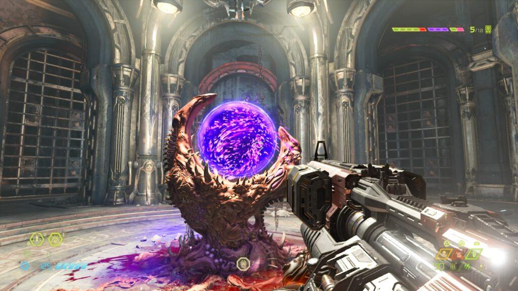 Na imagem, Doom Slayer aponta para um portal de desafio opcional.