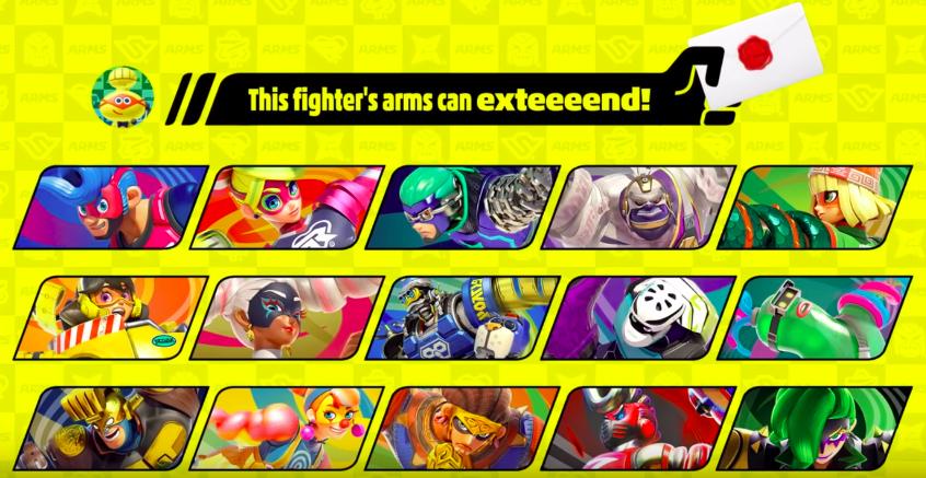 Lista de personagens de Arms