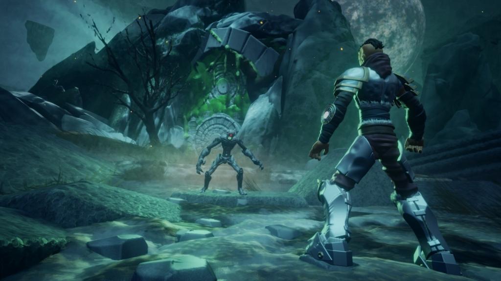 Herói enfrentando monstro em Project Ikelos