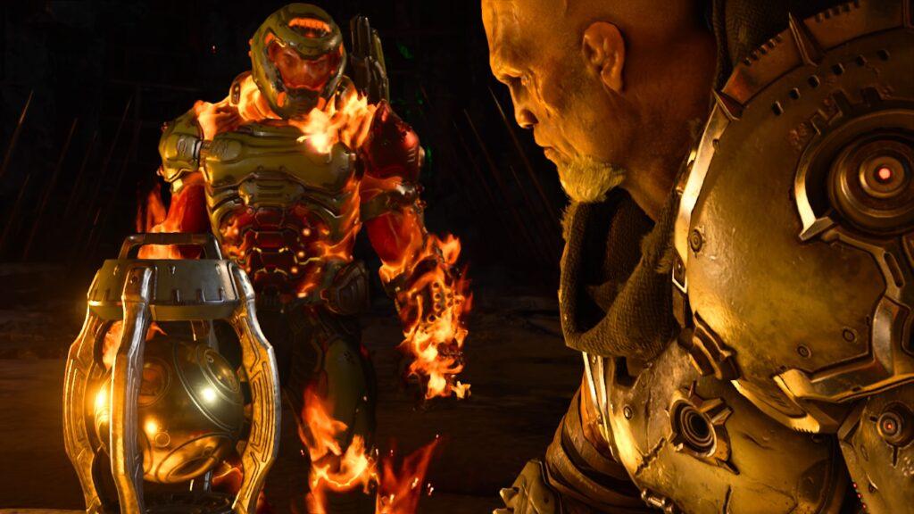 Doom slayer conver com um personagem.