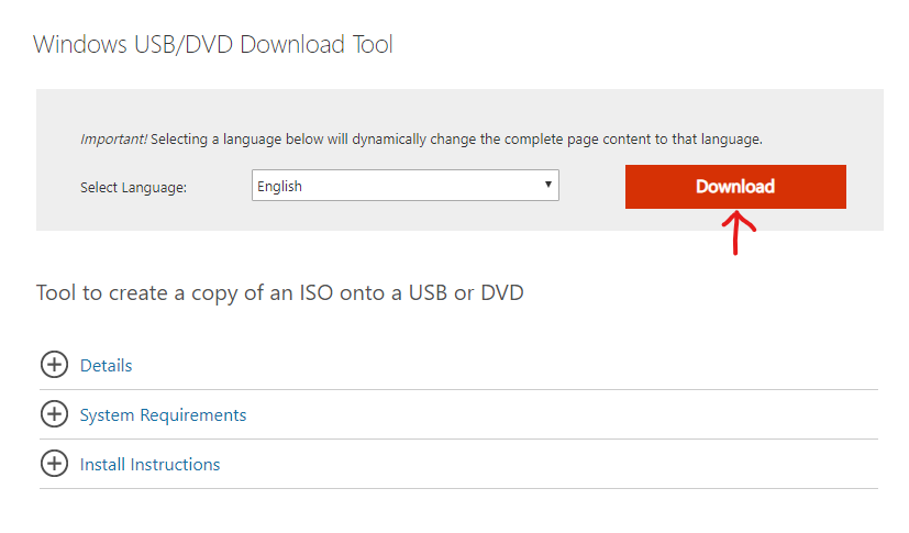 Página de download do Windows USB/DVD Download Tool