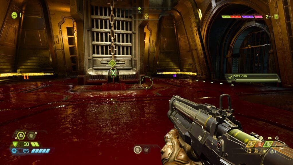 Uma sala com o chão completamente encharcado de sangue.