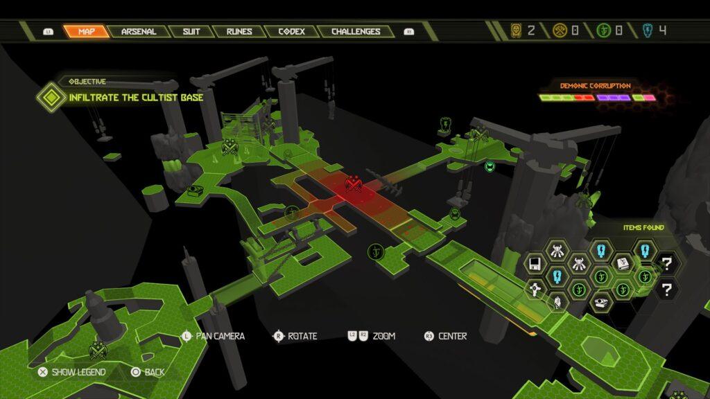 A imagem mostra o mapa com uma porção vermelha, que indica presença de inimigos, rodeada por porções verdes, passagens já completadas.