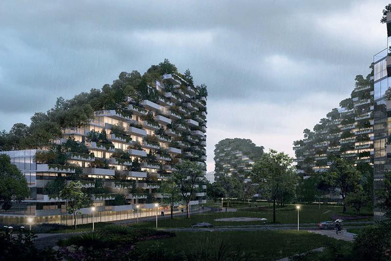 Três prédios cheios de jardins suspensos, com árvores. Todos em volta de um jardim no solo.