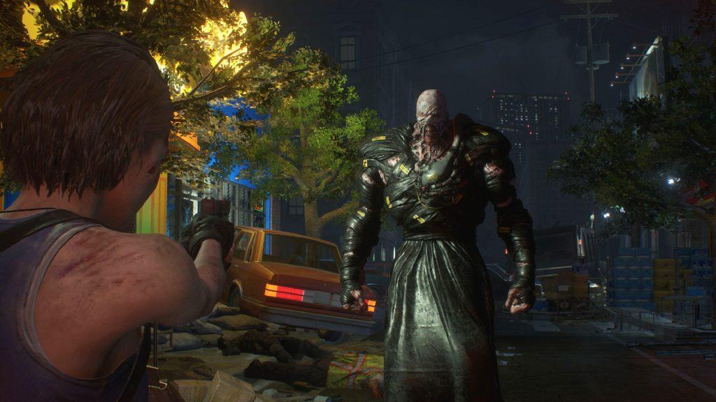 Jill enfrentando Nemesis na demo do game