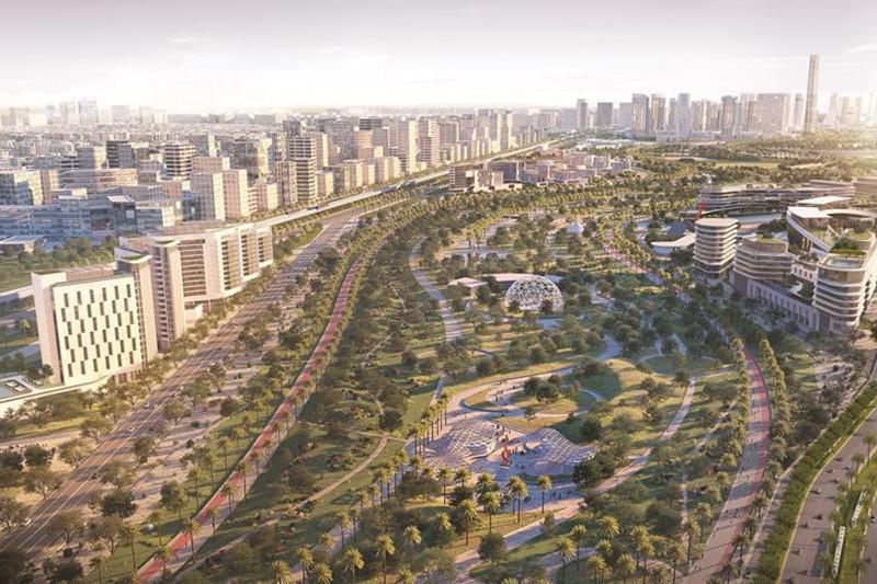 Imagem do projeto de nova nova cairo, com grande espaço com árvores ao centro. Ao redor, prédios.