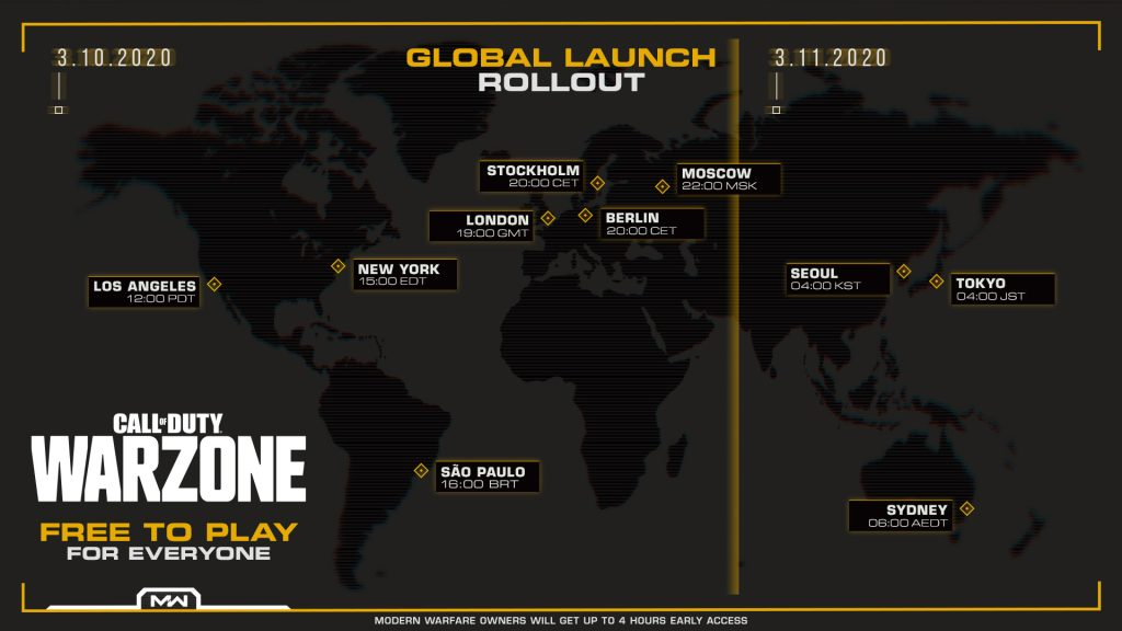 CoD warzone, карта мира с указанием времени запуска игры