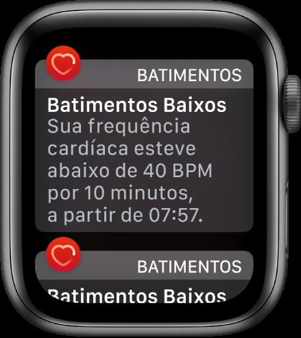 O alerta de Batimetos Baixos é um dos recursos de saúde do Apple Watch
