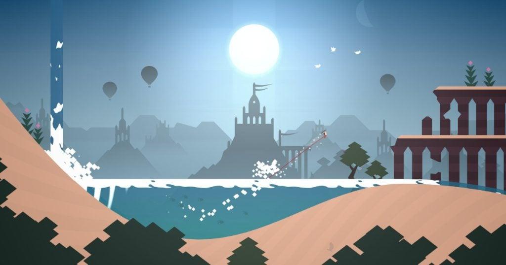 Personagem deslizando por um cenário surreal em um dos games grátis