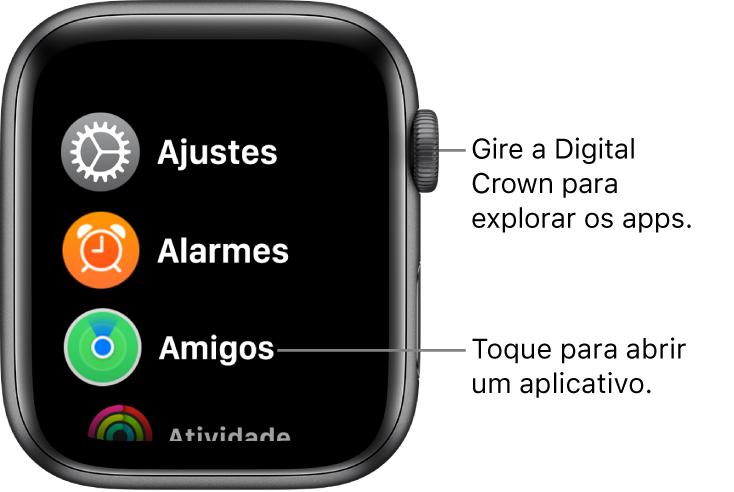 Visualização de aplicativos em lista no apple watch. Uma versão mais elaborada deve chegar ao iphone no ios 14.