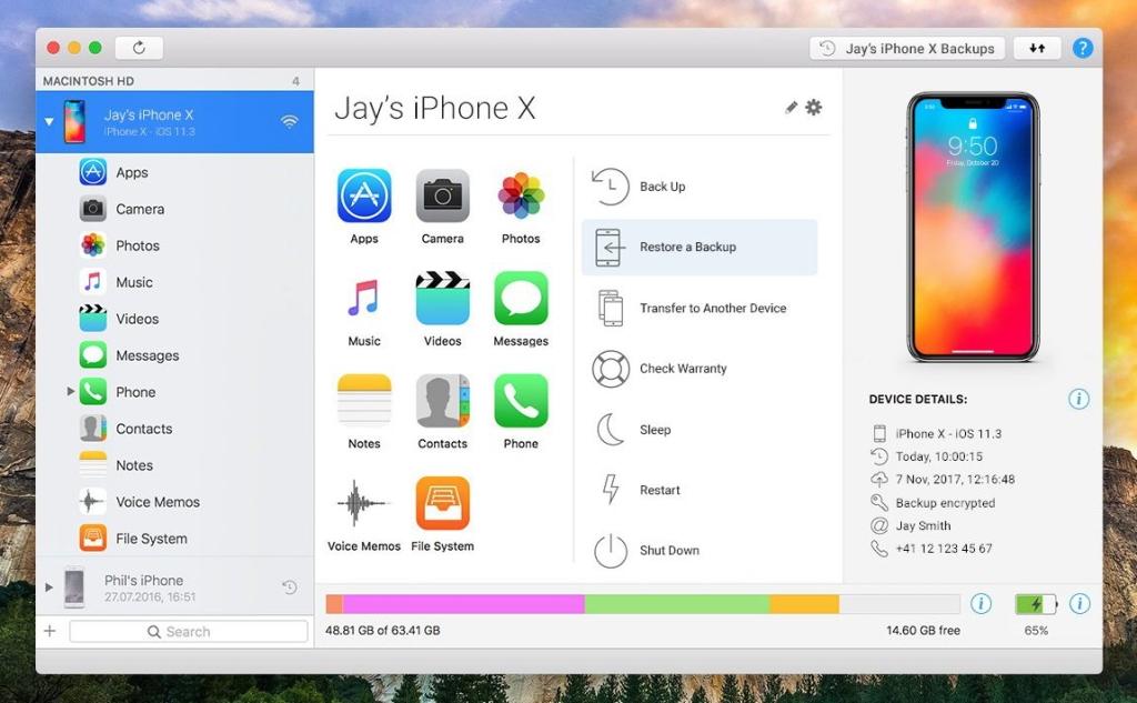 Tela principal do imazing, alternativa para restaurar o iphone