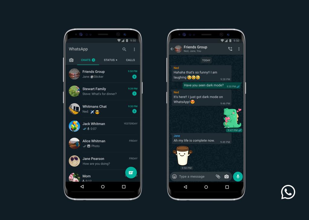 Modo Escuro sendo usado em um smartphone no WhatsApp