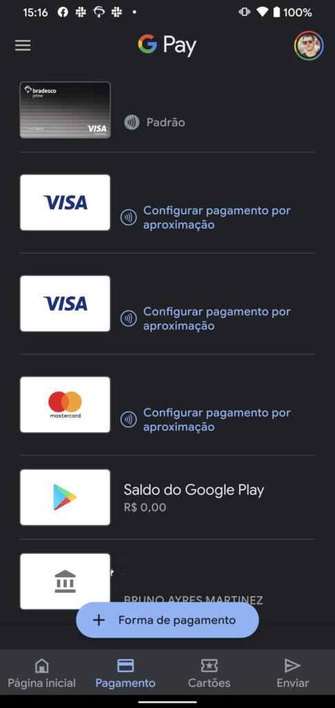 Lista de cartões cadastrados no Google Pay