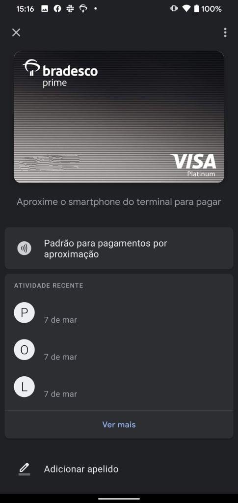 Tela do google pay com cartão habilitado para pagamentos nfc