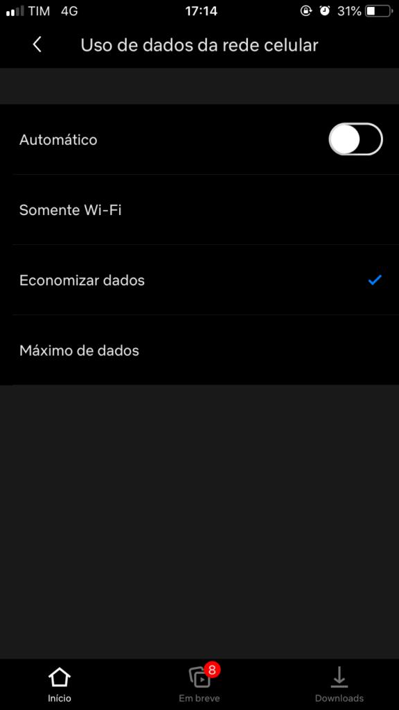 Dados móveis netflix