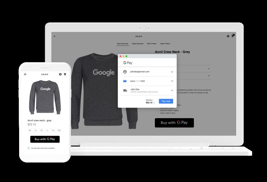 Moletom sendo comprado na Internet usando o Google Pay