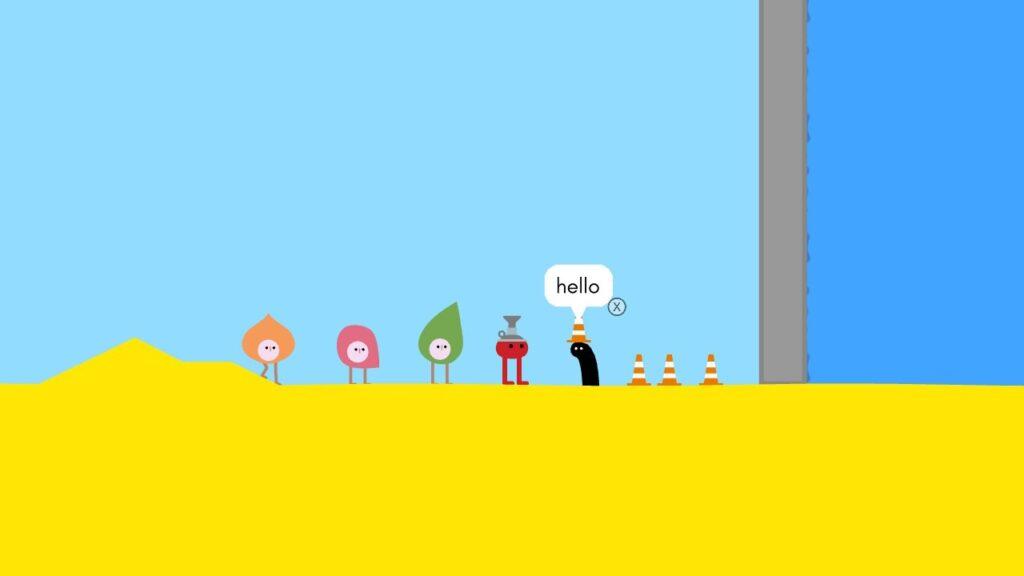 Personagens de Pikuniku em um cenário conversando