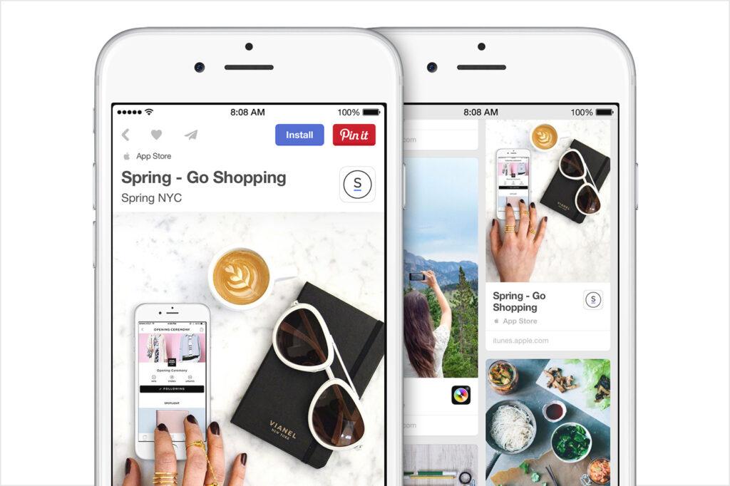 Dois iphones. Um mostrando uma única postagem no pinterest e outra exibindo várias.
