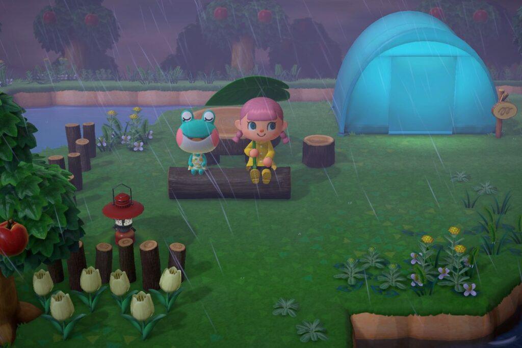 Personagens sentados em um banco em meio à chuva