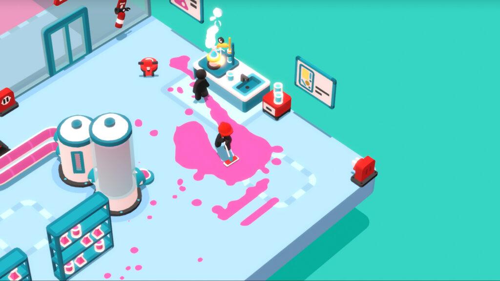 Personagem limpando o chão do escritório em Good Job