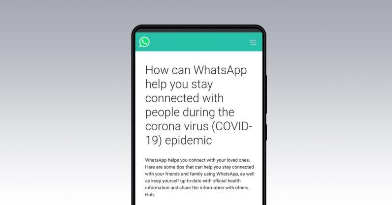 Página do hub de informações sobre o coronavírus do whatsapp