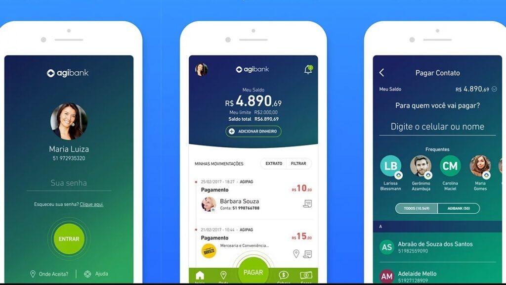 Screenshots do aplicativo do agibank, um dos bancos digitais do brasil.