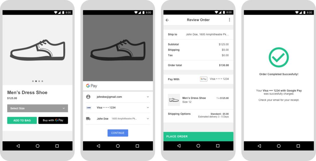 Calçado sendo comprado em app usando o Google Pay